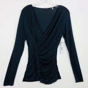 New Elie Tahari black ruffled long sleeve blouse M